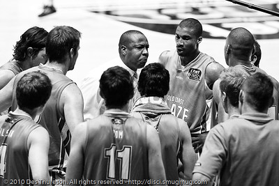 Blaze Head Coach Joey Wright gives his boys a spray. - Gold Coast Blaze v Perth Wildcats NBL Baskeball, New Year's Eve 2010; Gold Coast Convention & Exhibition Centre.  - Kodak BW CN Curve