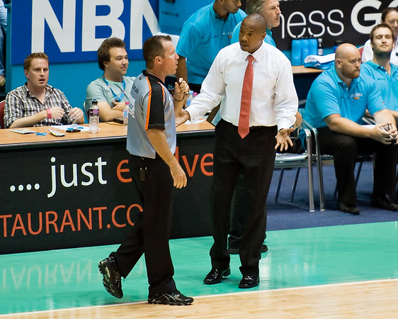 Blaze Head Coach Joey Wright doesn't like the Jump Ball Call, a possession 'lost' due to the possession arrow - Gold Coast Blaze v Adelaide 36ers NBL Basketball; Queensland, Australia; Sunday 13 February 2011. Photos by Des Thureson: http://disci.smugmug.com